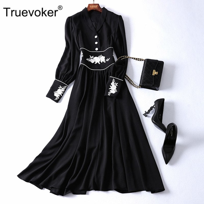Truevoker Spring Designer Dress Women's High End Vintage Gold Thread Embroidery Black Midi Robe Femme Ete Boutique Vestido