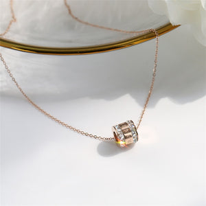 2018 New Rose Gold Color Fashion Black White Crystal Roman Pendant Necklace gold plated