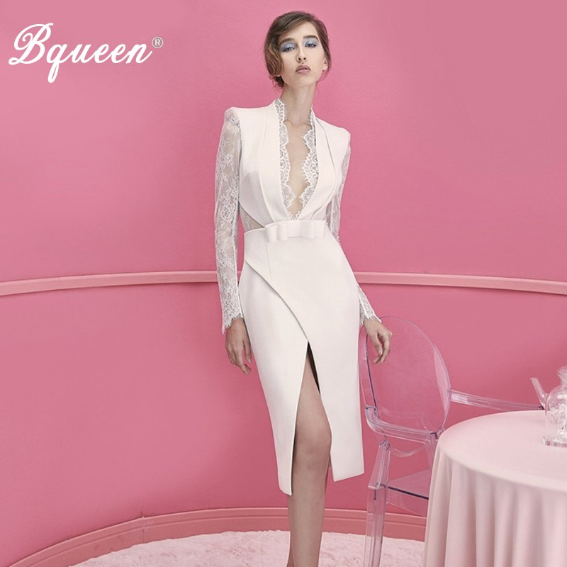 Bqueen New 2019 Fashion White Lace Split  Dresses Sexy Deep V-Neck Lace Full Sleeve Asymmetrical  Bow Belt  Knee Length Dress