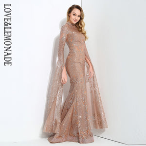 Love&Lemonade Rose Gold Cut Out Speaker Long Sleeve Geometry Glitter Glued Long Dress LM0702
