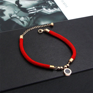 Double Sides Roman Red Line Bracelet Fashion Elegant Woman Girl Gift Rose Gold Color