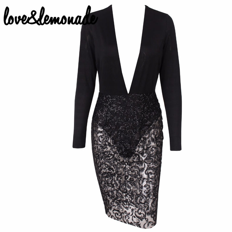 Love&Lemonade  Sequined Dress Party Dress Black TB 9756