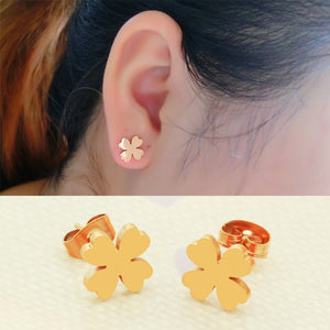 YUN RUO Brand Rose Gold Silver Color Flower Stud Earring for Woman Girl Gift 316 L Stainless Steel Fashion Jewelry Never Fade
