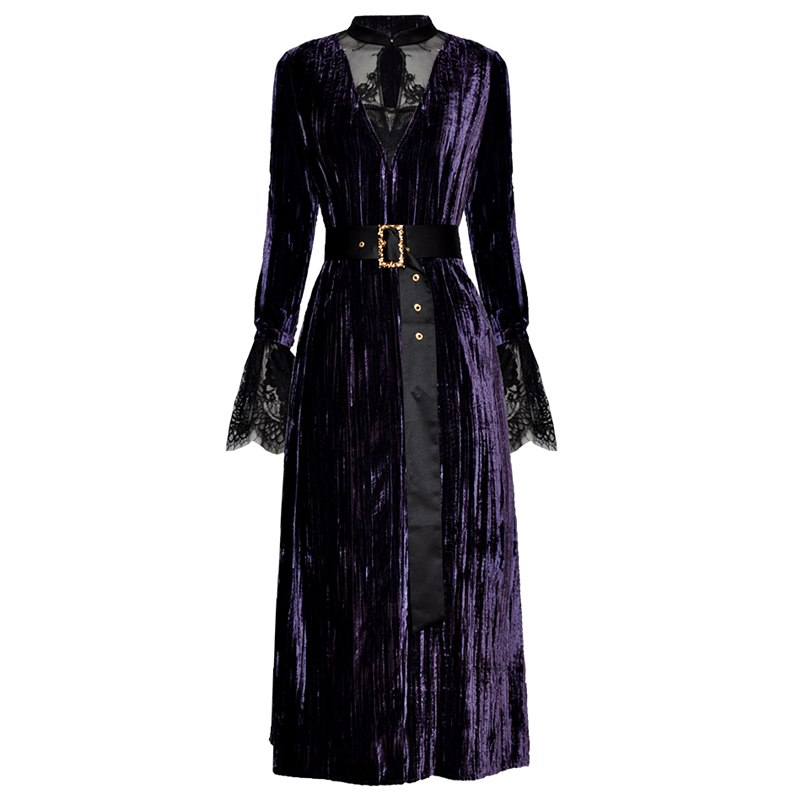 autumn winter 2018 womens clothing black sheer lace patchwork purple velvet dress mandarin collar long sleeve maxi shirt dress