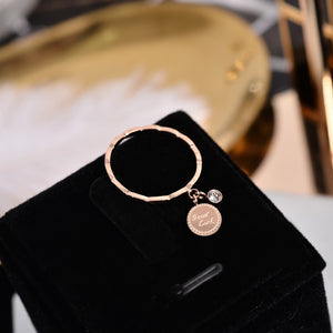 Round Pendant Crystal Good Luck Ring Rose Gold Color Fashion Titanium Steel Jewelry