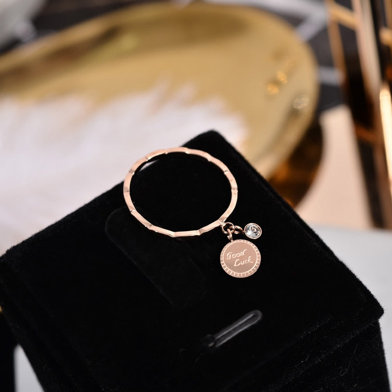 YUN RUO Round Pendant Crystal Good Luck Ring Rose Gold Color Fashion Titanium Steel Jewelry Wedding Birthday Gift Woman Not Fade