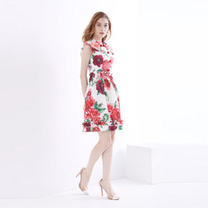 Runway Women Rose Printed Dress Summer Luxury 2018 Ruffles 3D Applique Beading Butterfly Sleeve Designer Dress Elegant Clothing