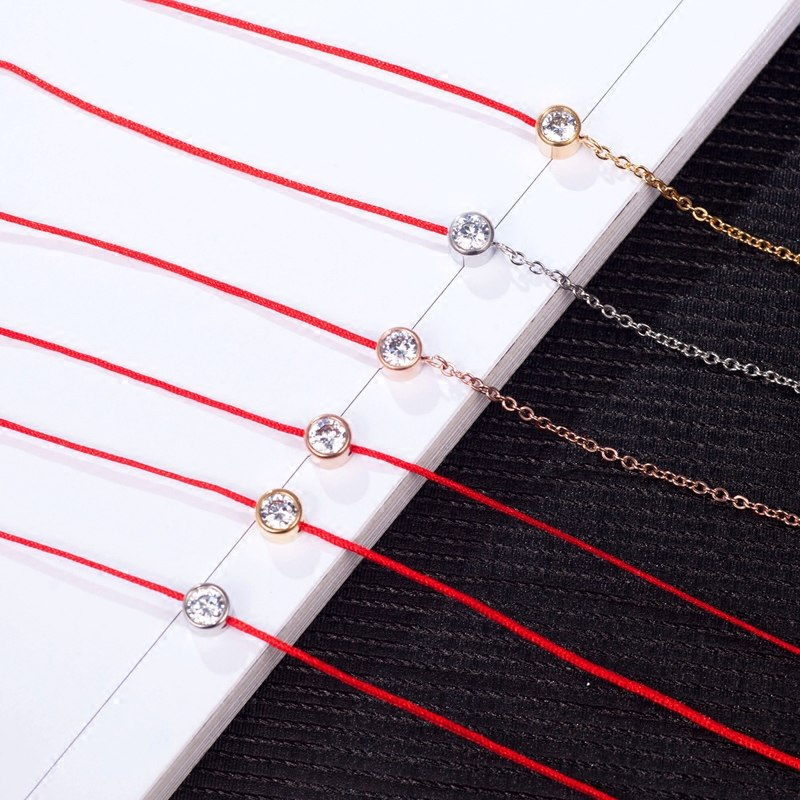 YUN RUO Brand Gold Silver Color Zircon Crystal Red Line Bracelet Charms 316 L Stainless Steel Jewelry Woman Chain Prevent Fade