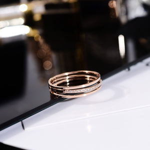 2018 Chic 3 Layers Crystal Ring Rose Gold Color Fashion Titanium Steel Jewelry Wedding Birthday Gift