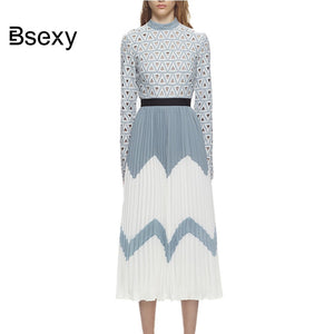 high quality self portrait dress 2018 Autumn women hollow out Lace pleated Midi dress runway long sleeve Tunic elegant dress