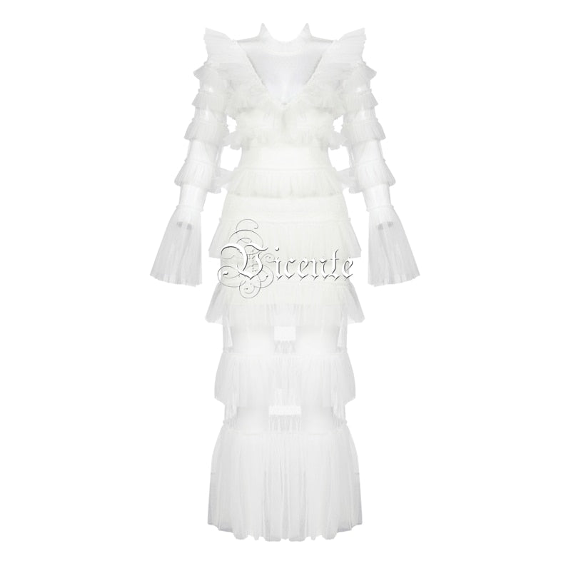 Chic Long White Dress Cascading Ruffles Design Long Sleeves Wholesale Celebrity Party Sexy Dress