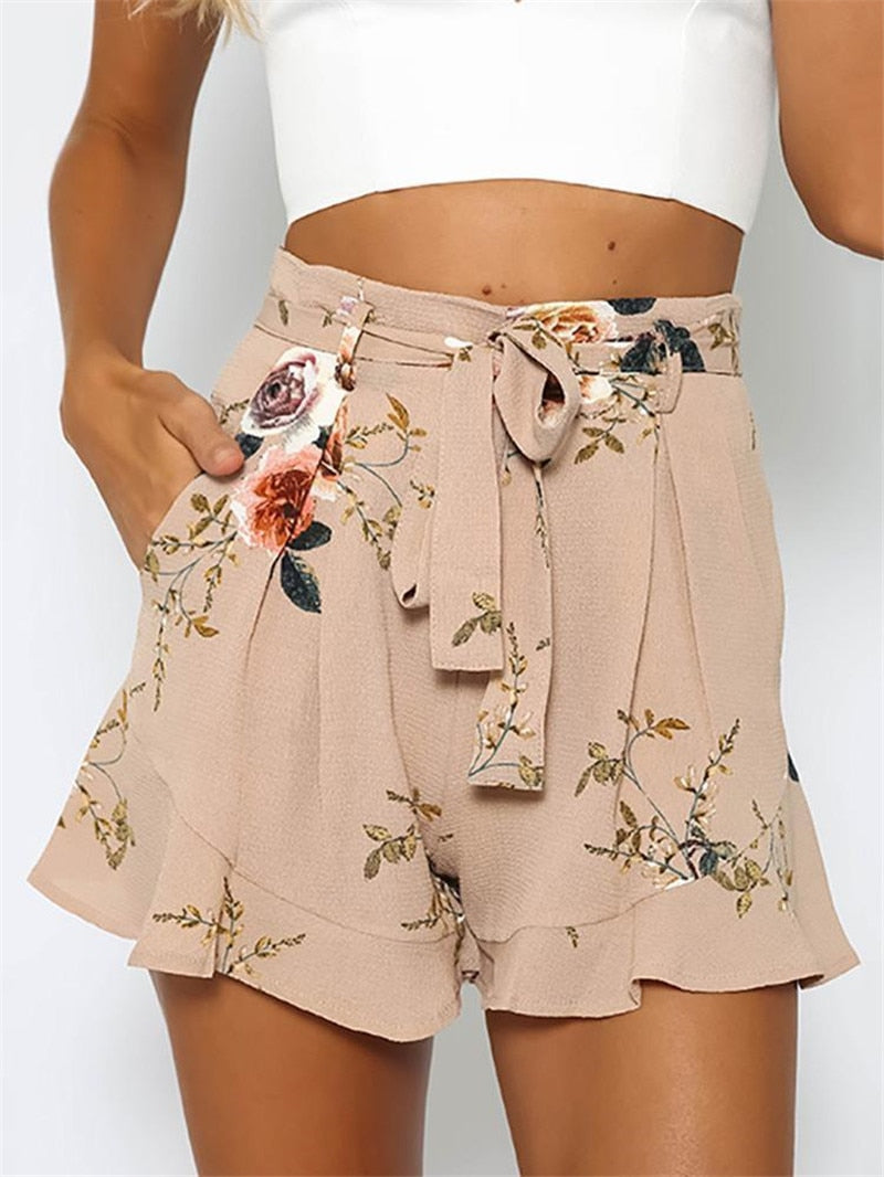 shorts women floral print short femme 2018 new summer style hot loose belt casual thin mid casual short women's plus size