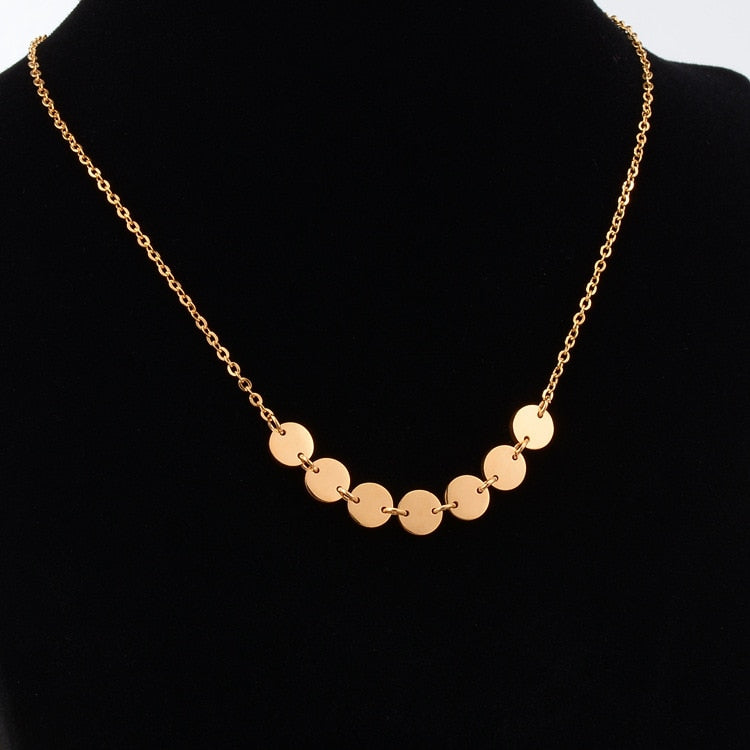 Elegant Sequins Pendant Necklace Woman gold plated Jewelry Gift Rose Gold Silver