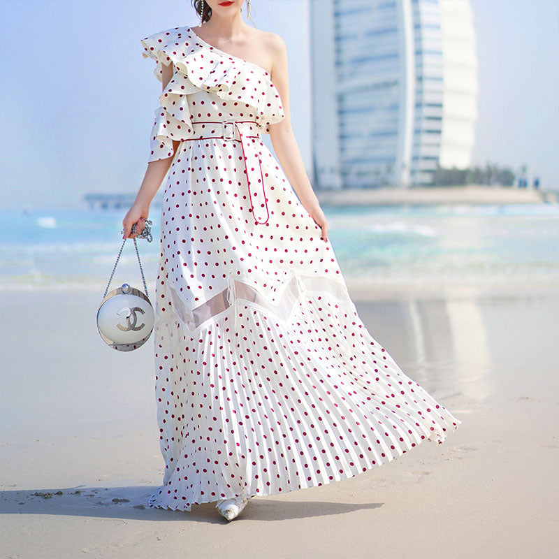 high quality Summer Dress 2018 Women Polka Dot Printe Pleated Long Beach Dress Sexy one Shoulder Ruffle Self Portrait Dress