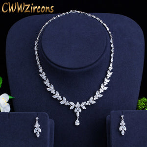Brilliant Cubic Zircon Party Costume Necklace Earrings Wedding Bridal Jewelry Sets
