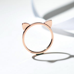 YUN RUO Yellow Rose Gold Color Cat Ears Finger Ring for Woman Girl Birthday Gift Wedding Jewelry 316L Stainless Steel Never Fade