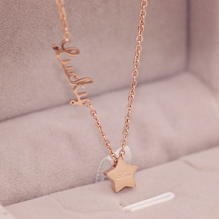 YUN RUO Fashion Brand Woman Jewelry Rose Gold Color Elegant Lucky Star Pendant Necklace 316 L Stainless Steel Bijoux Femme Gift