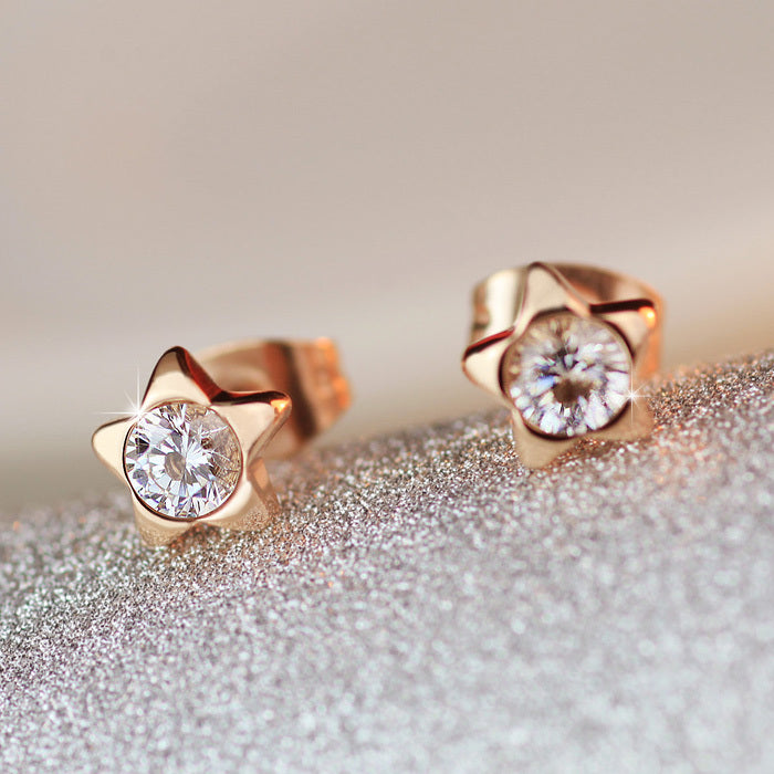 YUN RUO Top Brand Rose Gold Color Lovely Star AAA Zirconia CZ Stud Earring for Woman Girl 316 L Stainless Steel Fashion Jewelry