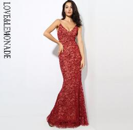 Deep V Neck Open Back Flower Ribs Long Dresses Red/Silver/Gold/Navy