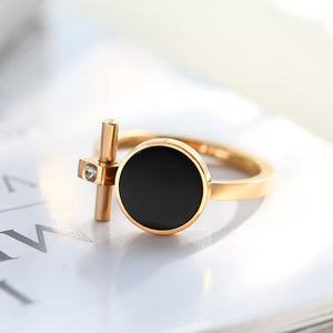 YUN RUO 2018 Black Round Crystal Rings Rose Gold Color Lady's Wedding Ring Birthday Gift Woman Fashion Titanium Steel Jewelry