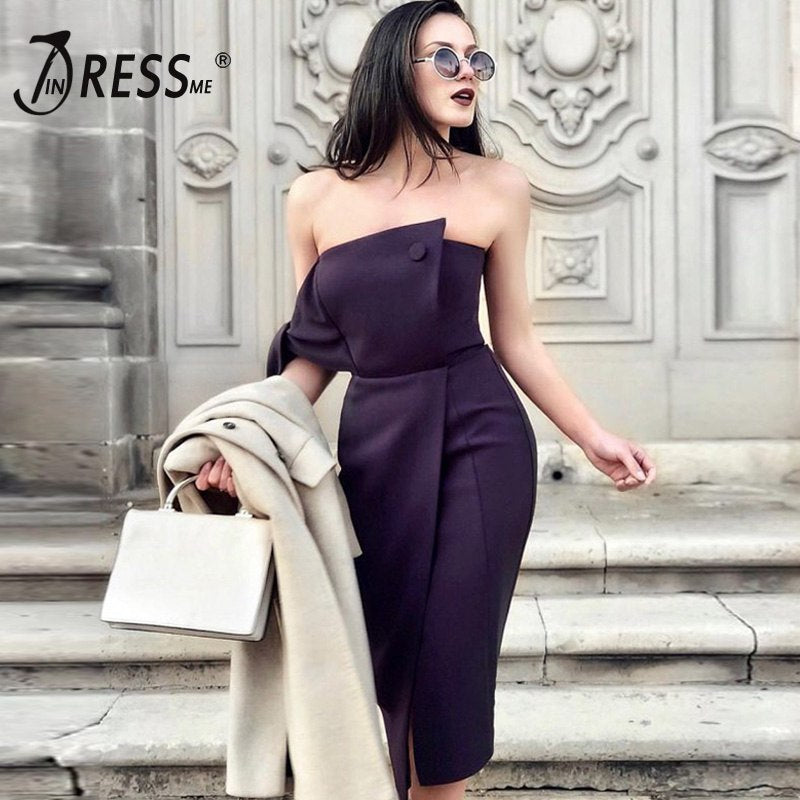 INDRESSME White Women Dress Bodycon Strapless Off shoulder Dress Sexy Club Party 2018 New Arrivals vestidos Bow Lace Up Dress