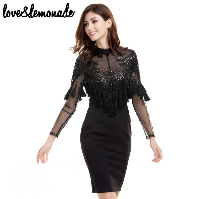 Love&Lemonade Lace Sequins Tassels Party Dress Black/Nude  TB 9693
