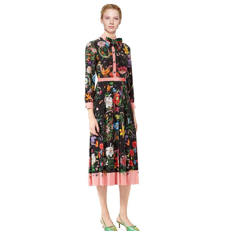 2018 Summer Autumn Vintage Black Long Dress Women European Runway Designer Floral Print Midi Dresses Tunic Plus Size XXL Clothes