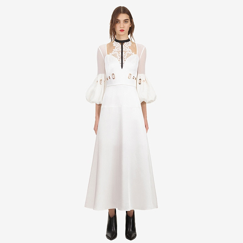 2018 Autumn White Elegant Long Dress Women Lace Lantern Sleeve Metal buckle Female Party Maxi Dresses Luxurty Brand Clothes