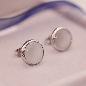 Brand Rose Gold Color Cat's Eye Opal Stone Stud Earring