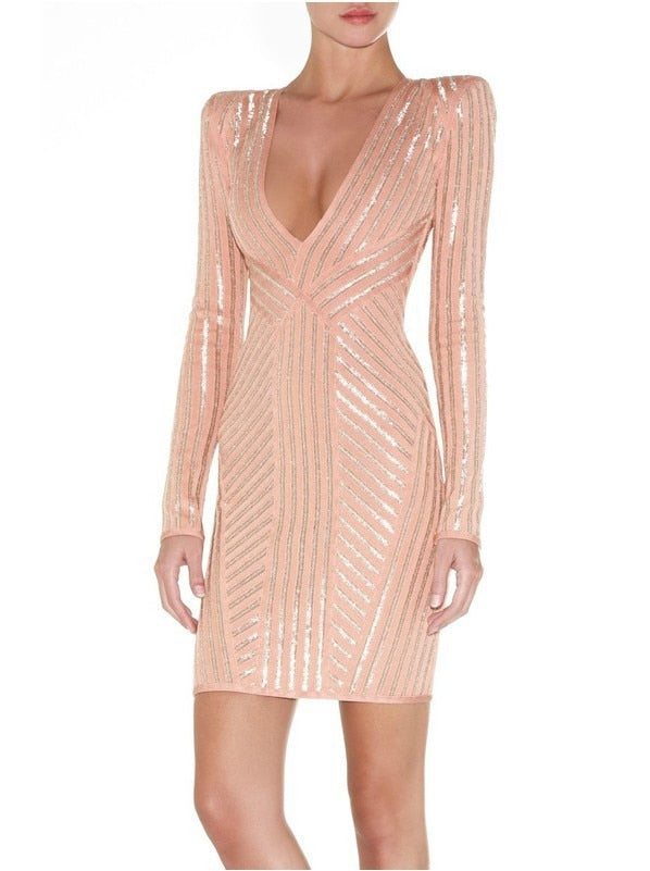2017 Sexy gold stamping Summer Dress Women Runway Party Dress Pink Long Sleeve Modern Bodycon Celebrity Pencil Bandage Vestidos