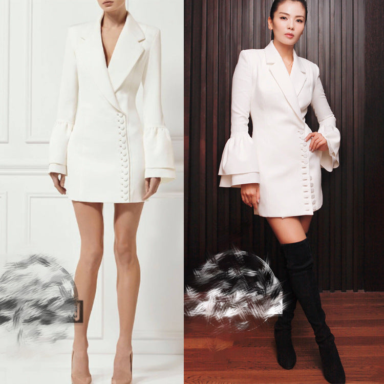 2017 Winter Elegant Office White Black Mini Dress Women Runway Long Flare Sleeve Female Party Business Dresses Vestidos Tunic