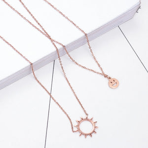 YUN RUO Fashion Brand Gold Silver Color Woman Jewelry Double Layer Sun Smile Pendant Necklace 316L Stainless Steel High Polish