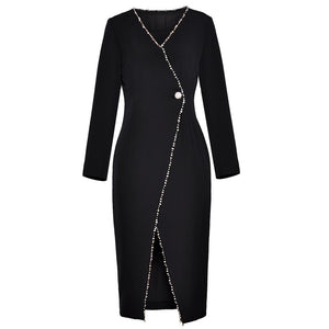 dress v neck long sleeve front slit mid-calf length ladies black dress women dress