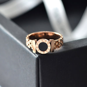 YUN RUO Rose Gold Color Black Roman Numerals Ring for Woman Man Couple Jewelry 316 L Stainless Steel Ring Top Quality Never Fade
