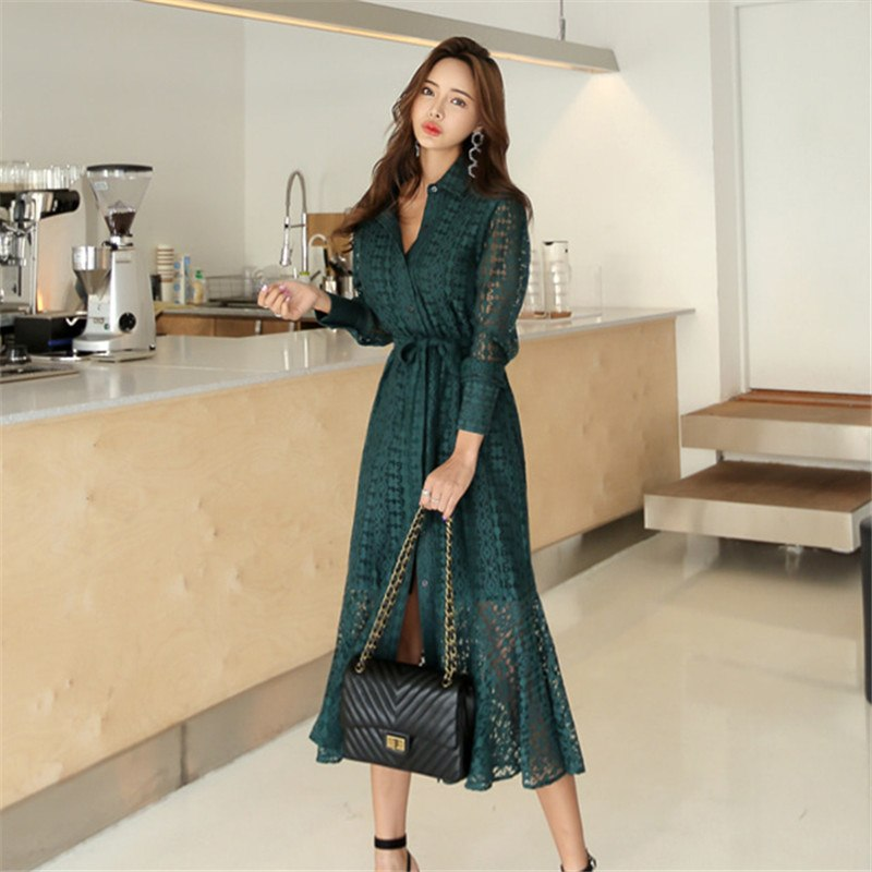 limiguyue autumn winter long sleeve solid lace dress vintage hollow out split bandage elegant female dress lady work dress W519