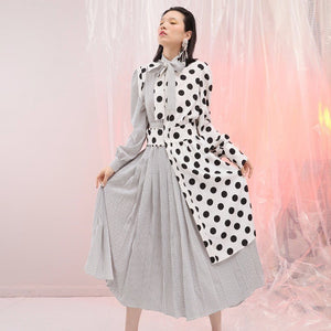Dot Patchwork Dress For Women Lace Up Bow Lantern Sleeve Tunic High Waist Pleated Irregular