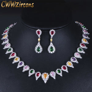High Quality Multicolor Cubic Zirconia Pave Setting Big Wedding Bridal Choker Necklace Jewelry Set