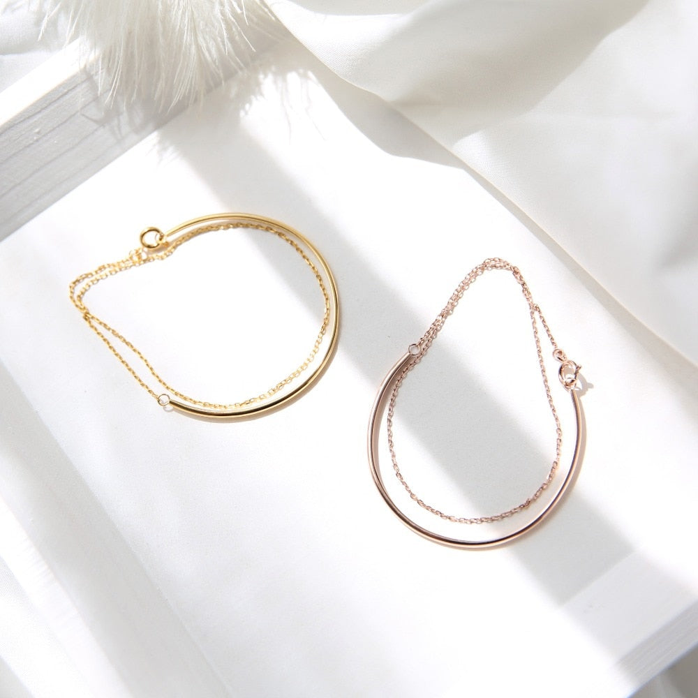 YUN RUO Satomi Ishihara Double Layer Bracelet Fashion Elegant Woman Girl Gift Rose Gold Color Titanium Steel Jewelry Never Fade