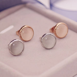 YUN RUO Brand Rose Gold Color Cat's Eye Opal Stone Stud Earring for Woman Girl 316 L Stainless Steel Fashion Jewelry Bijouterie