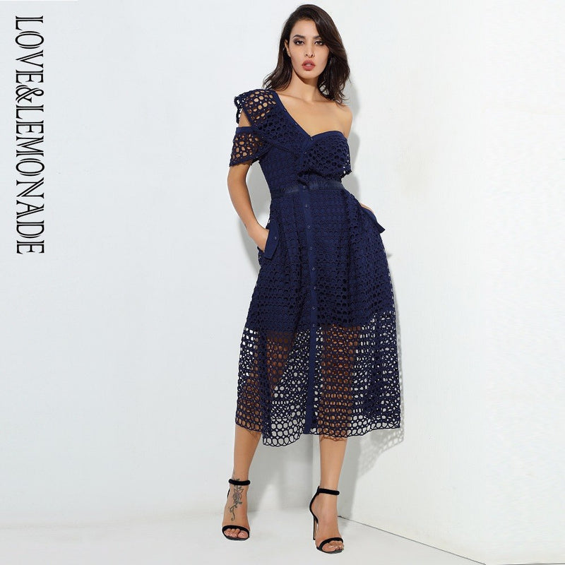 Love&Lemonade Navy Round Lace Single Shoulder Lotus Leaf Type A Dress  LM0559