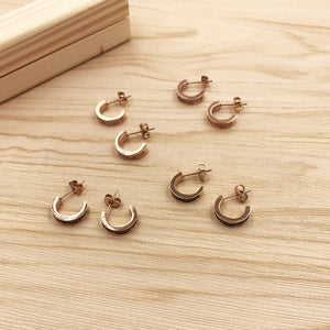 YUN RUO 2018 Zirconia Inlay Semi-circle Stud Earring Rose Gold Color Earring Woman Girl Gift Titanium Steel Jewelry Never Fade