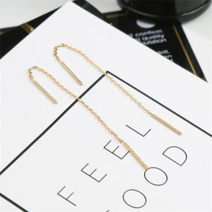 Anti-allergy Rose Gold Silver Color Simple Earring Line