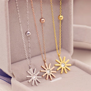 Fashion Brand Yellow Rose Silver Color Classic Sunflower Pendant Necklace Woman gold plated