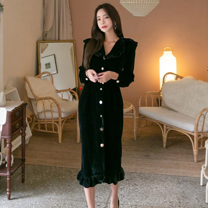 limiguyue autumn winter retro vintage velvet midi dress women single button black velour runway party dress brand vestidos T228