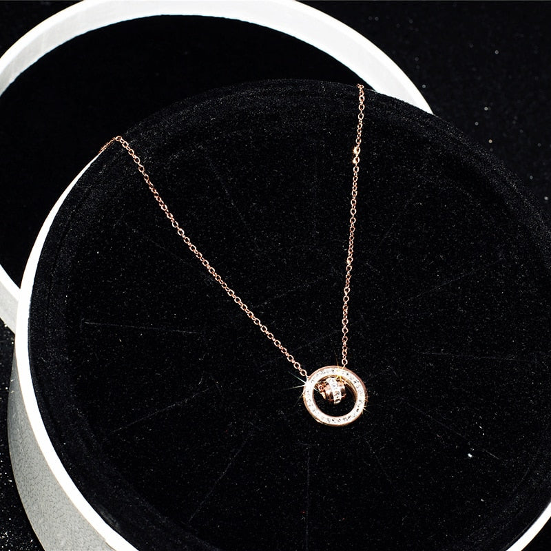 YUN RUO New Arrival Rose Gold Color Fashion Double Circle Crystal Pendant Necklace Titanium Steel Jewelry Woman Gift Never Fade