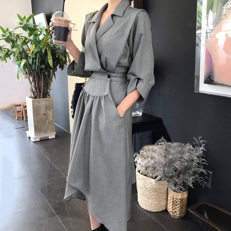 LANMREM Autumn And autumn Korea 2018 New Fashion Notched Three Quarter Sleeve Irregular Hem Mid-calf Dress Woman FA14001