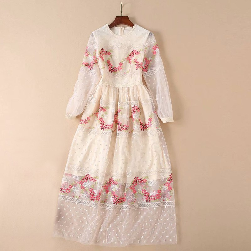 2019 summer clothes women embroider floral beige sexy mesh dress o-neck long sleeve dress
