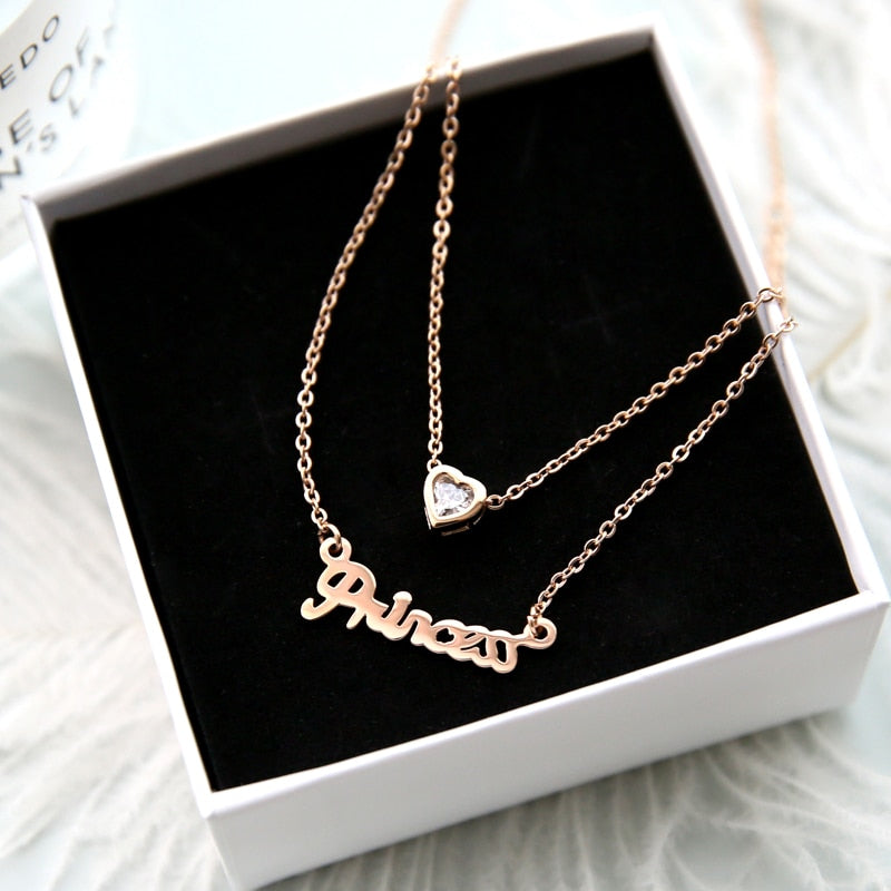 YUN RUO 2018 New Arrival Rose Gold Color Fashion Double Layers Heart Pendant Necklace Titanium Steel Woman Jewelry Gift Not Fade