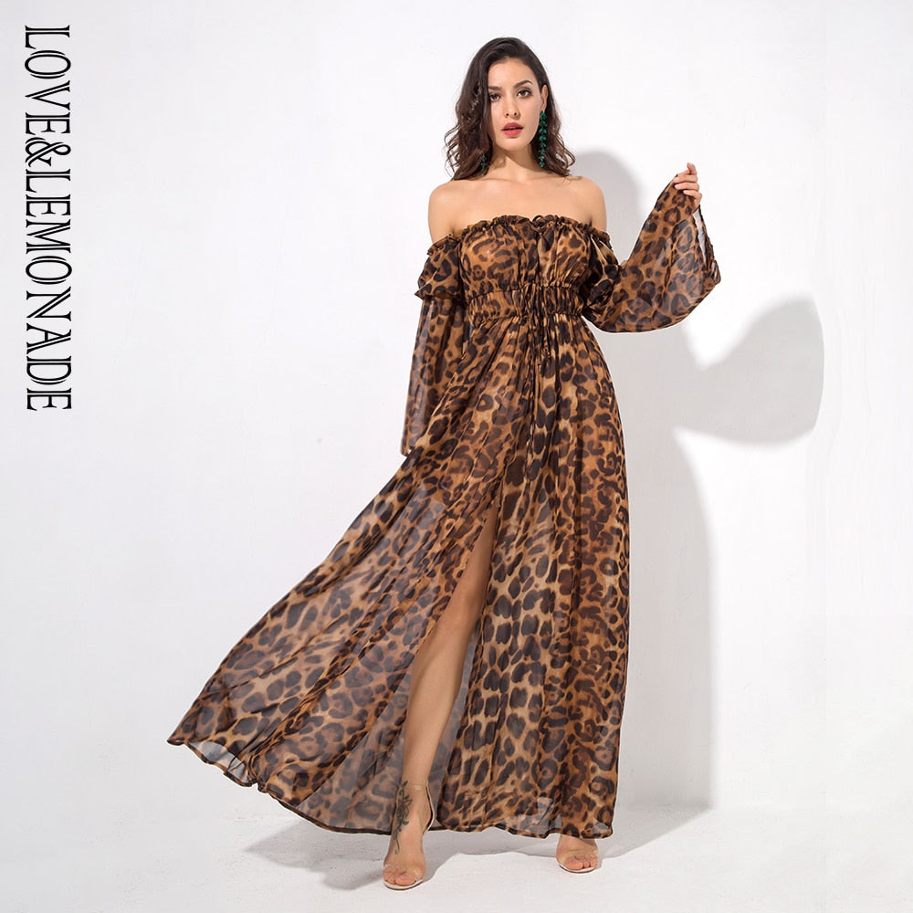 Love&Lemonade   Shoulder Strap Leopard Decorative Speaker Sleeves Long Dress LM1276