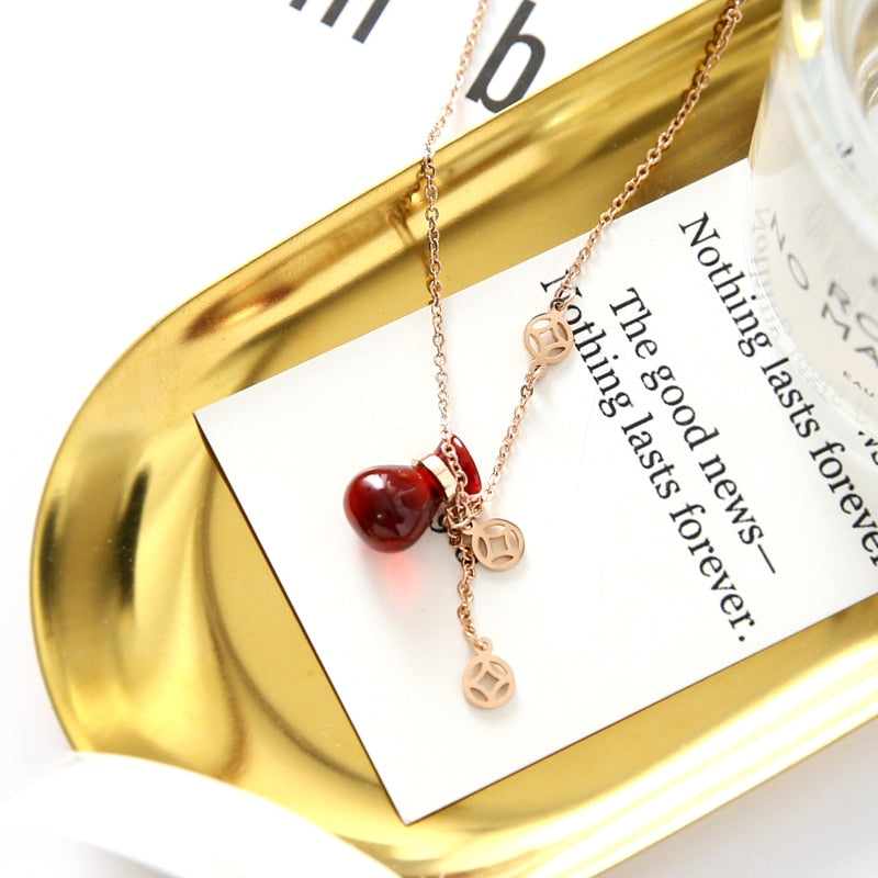 YUN RUO 2018 New Arrival Rose Gold Color Elegant Red Money Bag Pendant Necklace 316 L Titanium Steel Woman Jewelry Never Fade